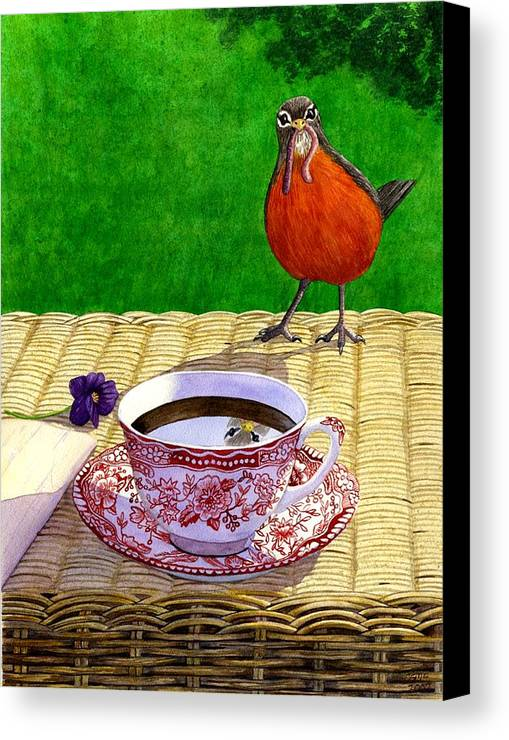 Robin Canvas Print featuring the painting Early Bird by Catherine G McElroy