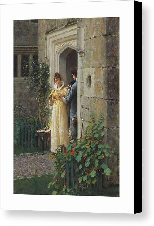 Girl Canvas Print featuring the painting Edmund Blair Leighton 1852-1922 The Request by Edmund Blair Leighton