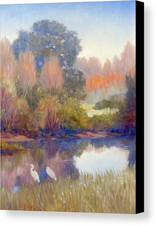 Egrets Canvas Print featuring the painting Egrets by Kevin Lawrence Leveque