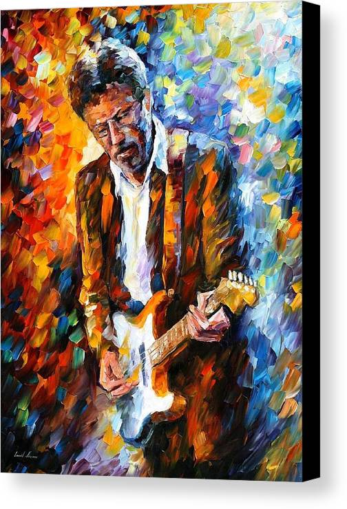 People Canvas Print featuring the painting Eric Clapton by Leonid Afremov