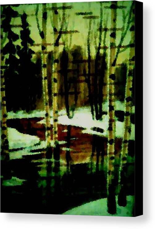 Sprig.forest.snow.water.trees.birches. Puddles.sky.reflection. Canvas Print featuring the digital art European Spring by Dr Loifer Vladimir
