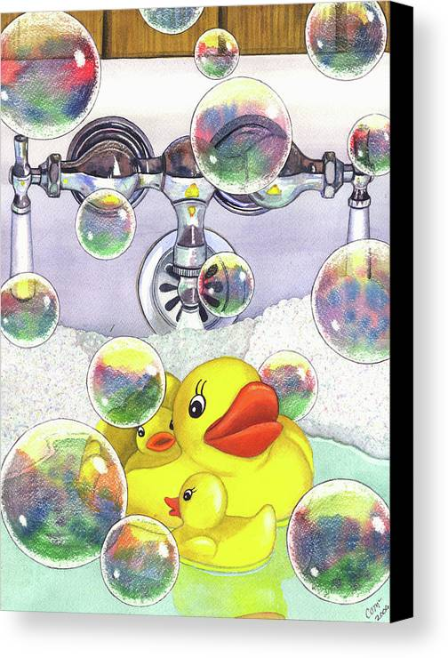 Bubbles Canvas Print featuring the painting Feelin Ducky by Catherine G McElroy