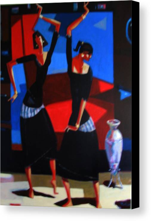 Figure Canvas Print featuring the painting Finger Dance by Ihab Bishai
