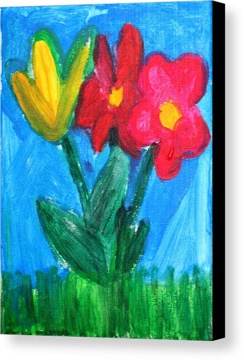 Flowers Canvas Print featuring the painting Flowers by Ann Lyons