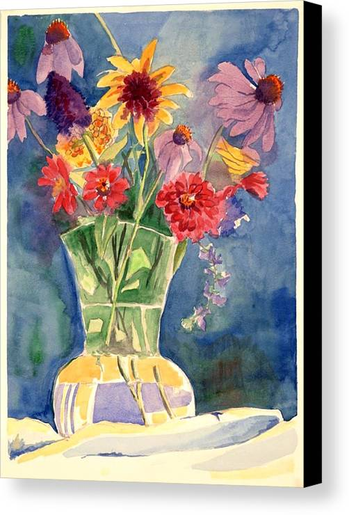 Flowers In Glass Vase Canvas Print featuring the painting Flowers In Glass Vase by Judy Swerlick
