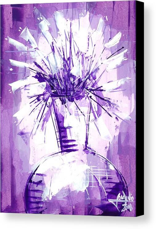 Oil Bristol Abstract Floral Nature Impressionist Surreal Representative Art Painting Jose Julio Canvas Print featuring the painting Flowery Purple IIi by Jose Julio Perez