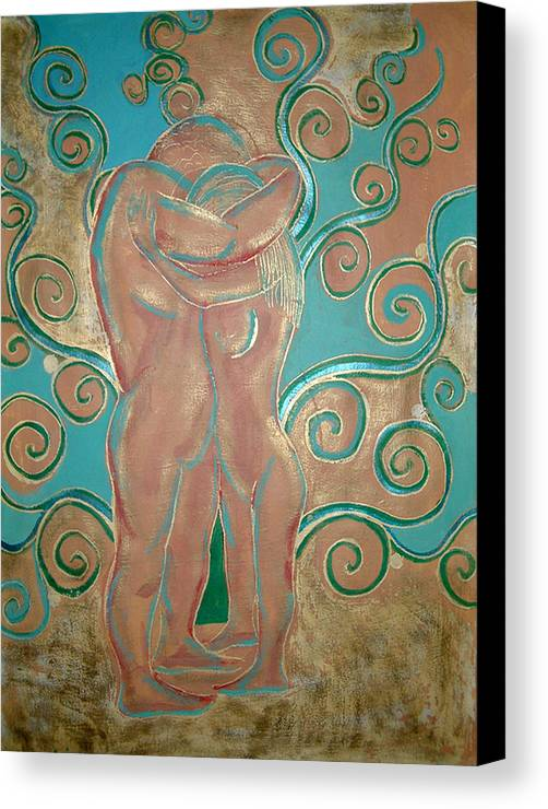Figures Canvas Print featuring the painting Fondness by Aliza Souleyeva-Alexander