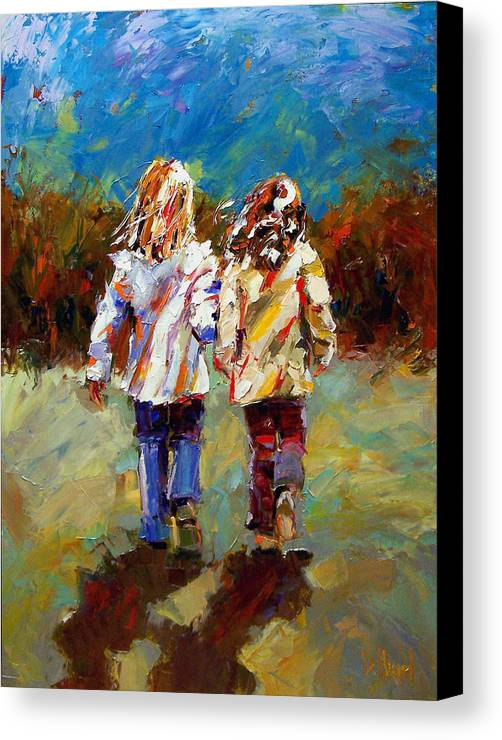 Girls Canvas Print featuring the painting Friends Forever by Debra Hurd