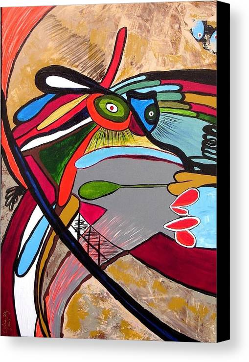 Abstract Frog Canvas Print featuring the painting Frog by Ofelia Uz