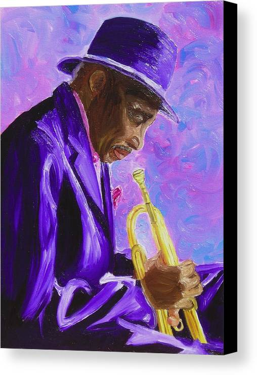 Street Musician Trumpet Player Canvas Print featuring the painting From The Soul by Michael Lee