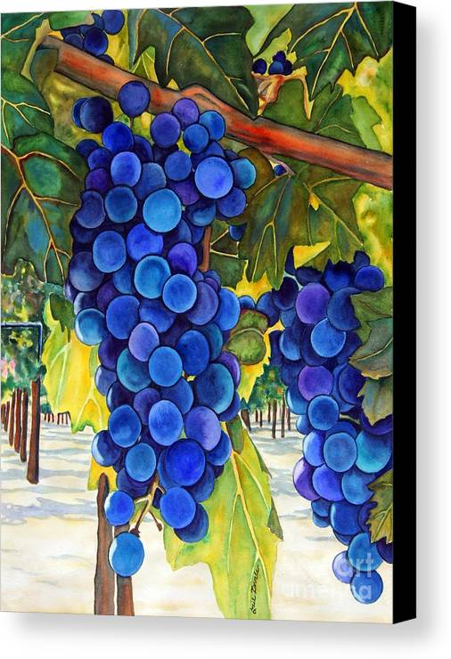 Grapes Canvas Print featuring the painting From The Vineyard by Gail Zavala