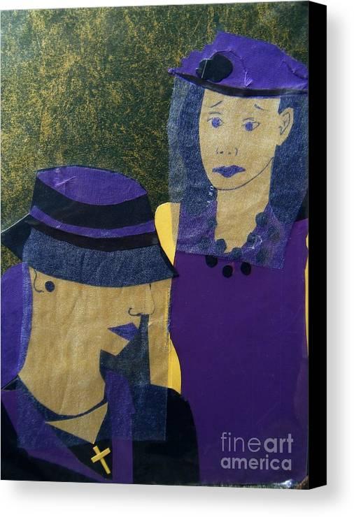 Purple Canvas Print featuring the mixed media Funeral Masks by Debra Bretton Robinson