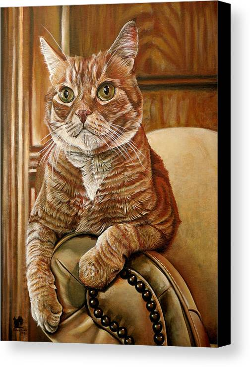 Cat Canvas Print featuring the painting Furby by Cara Bevan