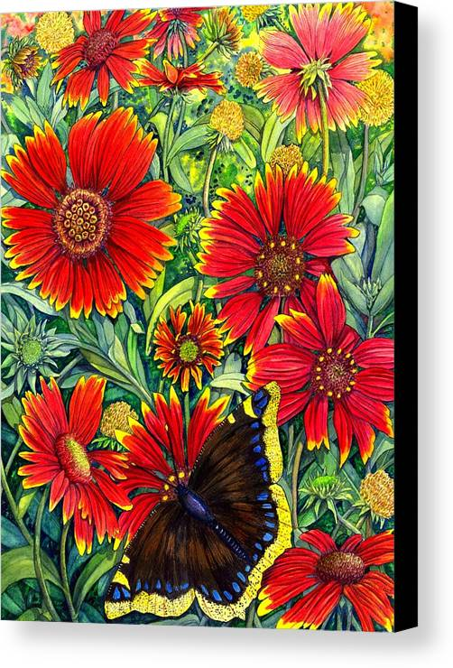 Butterfly Canvas Print featuring the painting Gaillardia by Catherine G McElroy