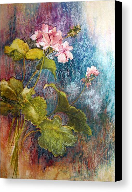Mixed Media;geraniums;chalk;floral;flowers;contemporary; Canvas Print featuring the mixed media Geraniums by Lois Mountz