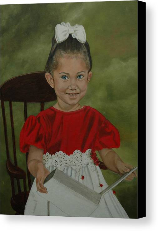 Girl Canvas Print featuring the painting Girl Reading Book by Tresa Crain