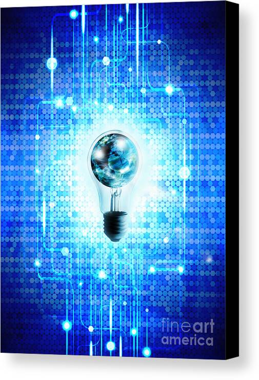 Abstract Canvas Print featuring the photograph Globe And Light Bulb With Technology Background by Setsiri Silapasuwanchai