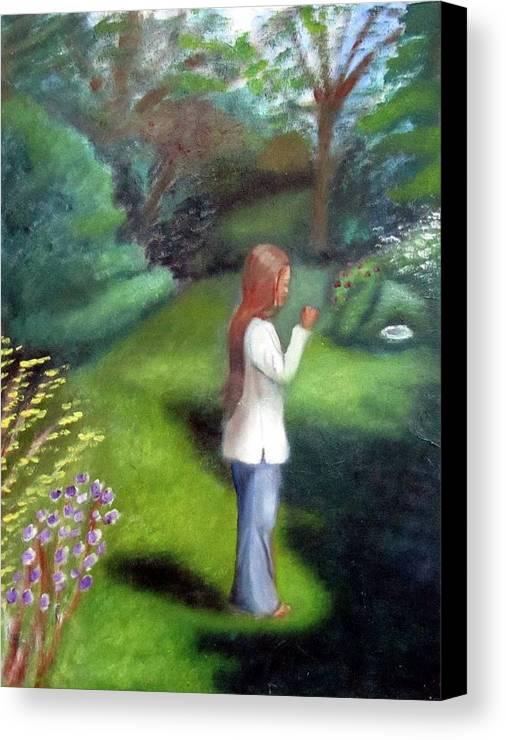 Portrait Canvas Print featuring the painting Grandmas Garden by Alima Newton