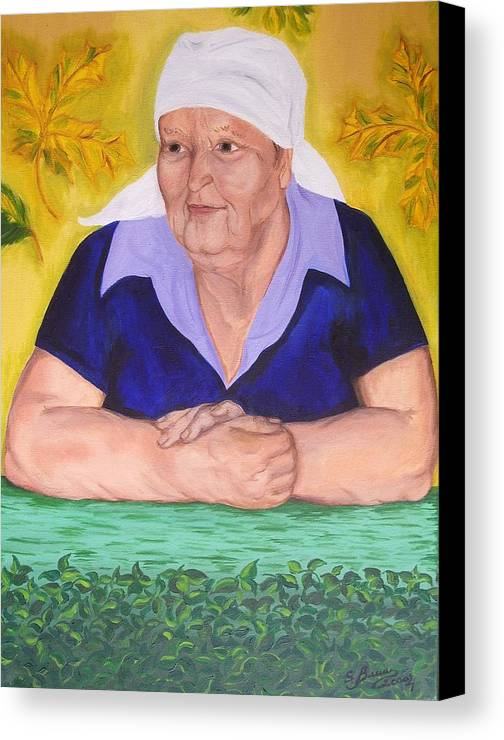 Art Canvas Print featuring the painting Granny Katiya by Svetlana Vinokurtsev