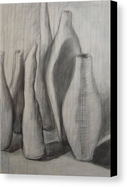 Original Drawing Leilaatkinson Pencil Vessels Bottles Canvas Print featuring the drawing Group Of Vessels by Leila Atkinson