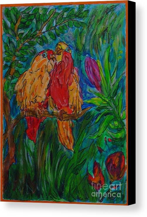 Birds Tropical Couple Pair Illustration Original Leilaatkinson Canvas Print featuring the painting Happy Pair by Leila Atkinson