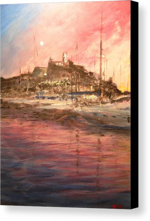 Yachts Canvas Print featuring the painting Ibiza Old Town At Sunset by Lizzy Forrester