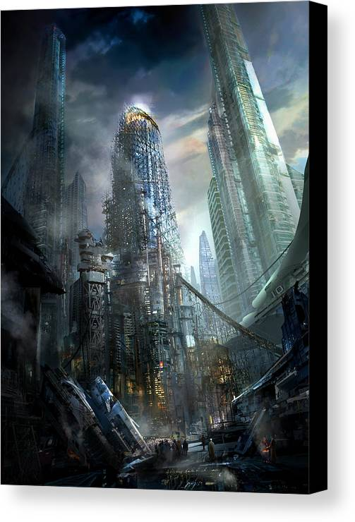 Philip Straub Canvas Print featuring the painting Industrialize by Philip Straub