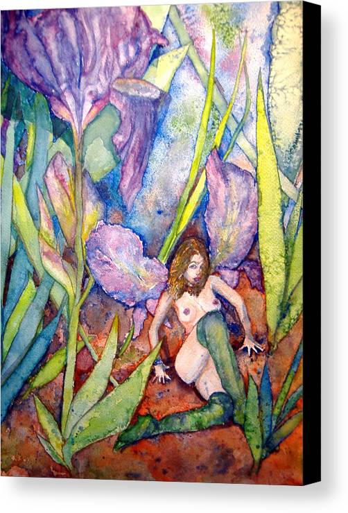 Faerie Canvas Print featuring the painting Iris Grantor Of Hope Wisdom And Inspiration - Watercolor by Donna Hanna