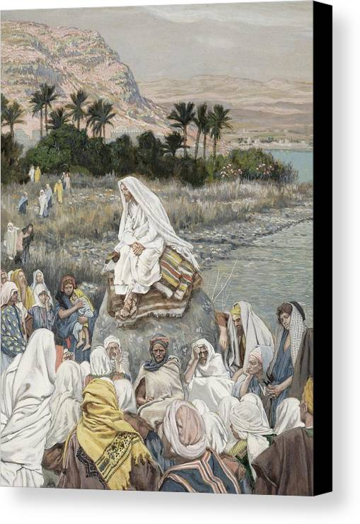 Sermon Canvas Print featuring the painting Jesus Preaching By The Seashore by Tissot