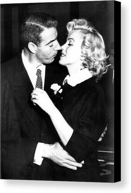 1950s Portraits Canvas Print featuring the photograph Joe Dimaggio, Marilyn Monroe by Everett