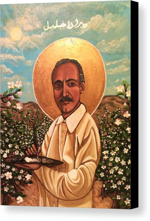 Canvas Print featuring the painting Kahlil Gibran by Kelly Latimore