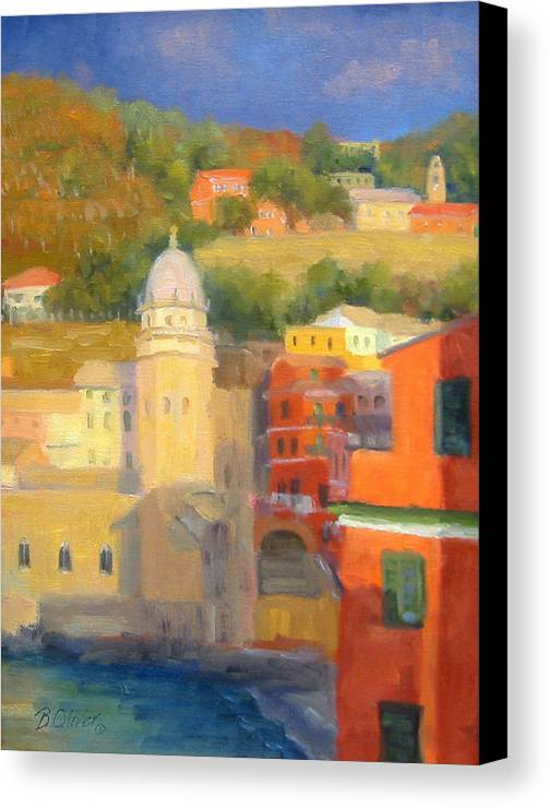 Vernazza Canvas Print featuring the painting Last Light - Vernazza by Bunny Oliver