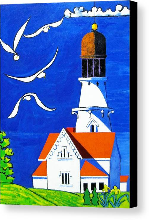 Lighthouse Canvas Print featuring the painting Lighthouse With Seagull by Nicholas Martori