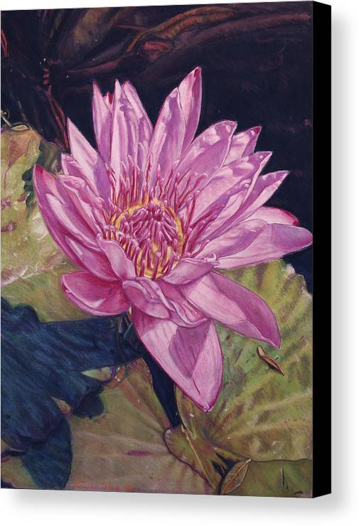 Floral Canvas Print featuring the painting Lily And Her Shadow by Melissa Tobia