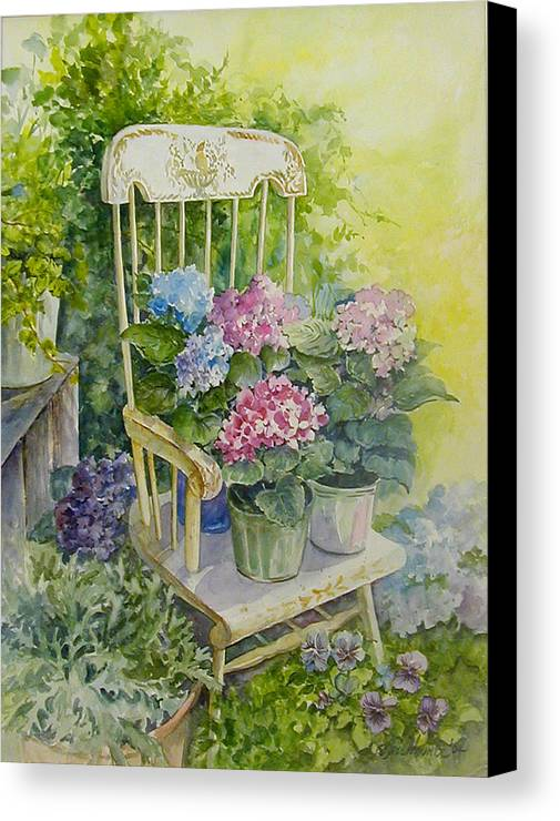 Floral;flowers;rocking Chair;hydrangeas;pansies; Canvas Print featuring the painting Linda by Lois Mountz
