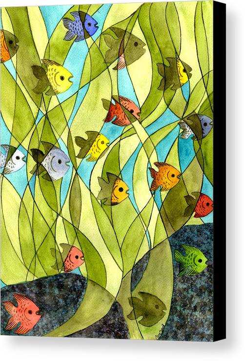 Fish Canvas Print featuring the painting Little Fish Big Pond by Catherine G McElroy