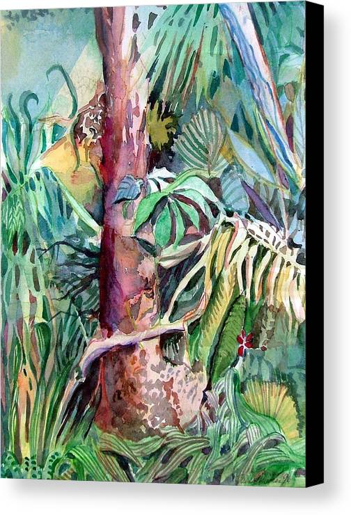 Jungle Canvas Print featuring the painting Lone Tree by Mindy Newman