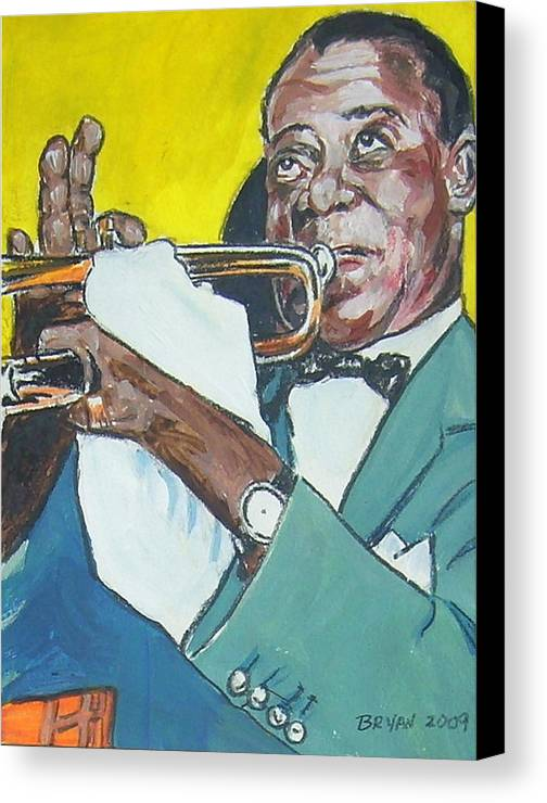 Louis Armstrong Canvas Print featuring the painting Louis Armstrong by Bryan Bustard