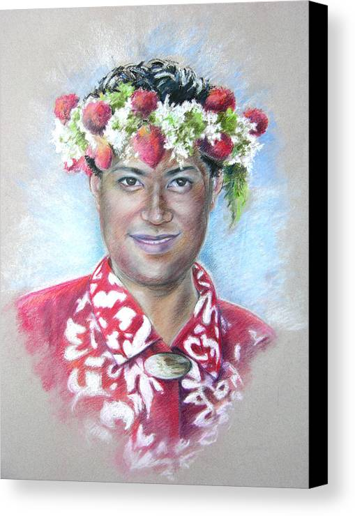 Tahiti Canvas Print featuring the painting Man From Papeete In Tahiti by Miki De Goodaboom