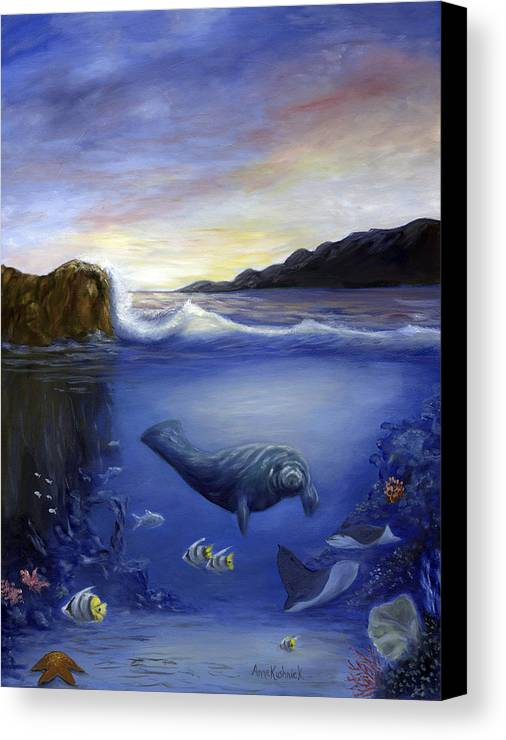 Seaworld Canvas Print featuring the painting Manatee by Anne Kushnick