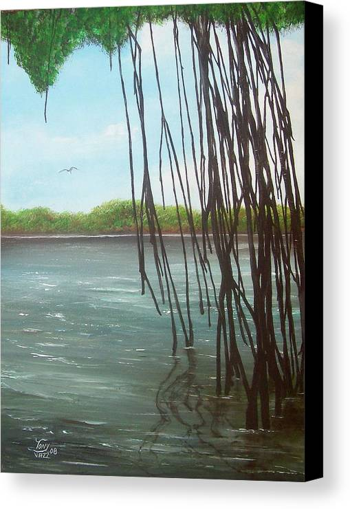 Seascapes Canvas Print featuring the painting Mangroves by Tony Rodriguez