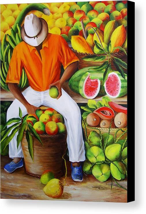 Caribbean Canvas Print featuring the painting Manuel The Caribbean Fruit Vendor by Dominica Alcantara