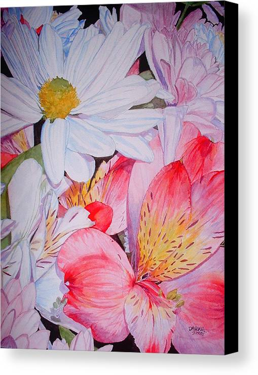 Garden Canvas Print featuring the painting Market Flowers - Watercolor by Donna Hanna