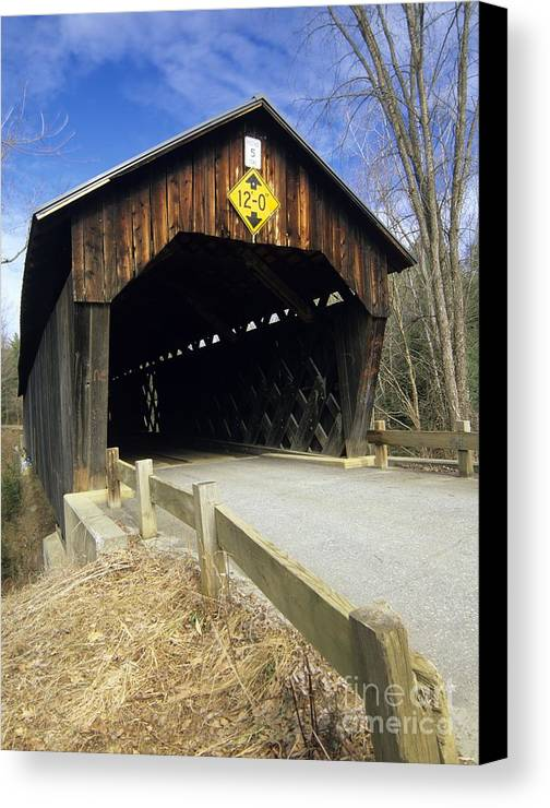 Bridge Canvas Print featuring the photograph Martinsville Covered Bridge- Hartland Vermont Usa by Erin Paul Donovan