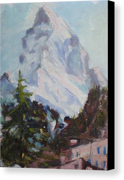 Switzerland Historic Climbing Mountain Canvas Print featuring the painting Matterhorn At 8 Pm by Bryan Alexander