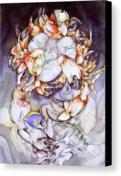 Sea Canvas Print featuring the painting Medallion Series V by Liduine Bekman