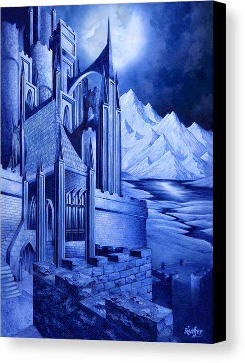 Lord Of The Rings Canvas Print featuring the mixed media Minas Tirith by Curtiss Shaffer