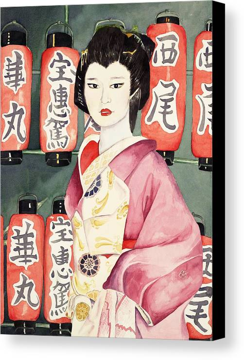Geisha In Kimono With Red Lanterns Canvas Print featuring the painting Miss Hanamaru At Osaka Festival by Judy Swerlick