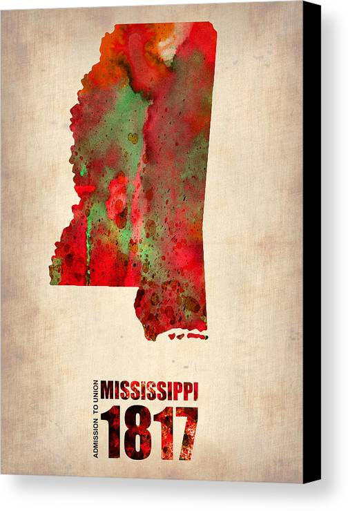 Mississippi Canvas Print featuring the digital art Mississippi Watercolor Map by Naxart Studio