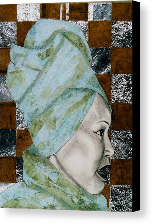 Malik Seneferu's Art Canvas Print featuring the drawing Mrs. Seneferu by Malik Seneferu